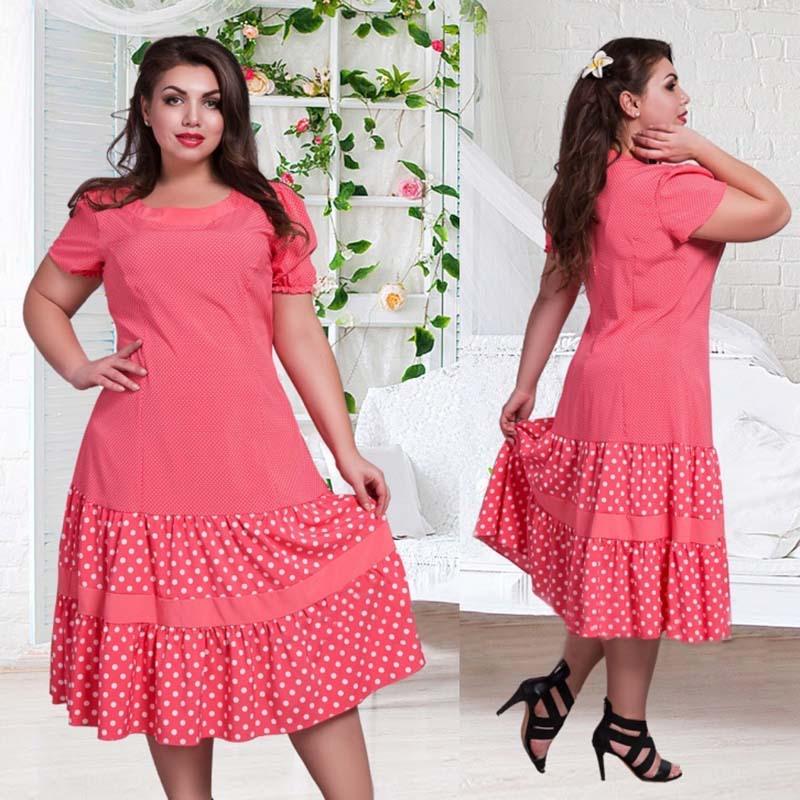 Dress women O-Neck Short sleeve dot pleated 2016 women dress L -3XL 4XL 5XL 6XL plus size women clothing Mid-Calf dresses(China (Mainland))