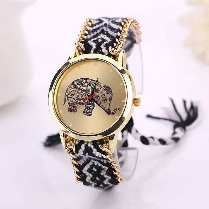 Irissshine #0102 Woman watches 5 colors Women Elephant Pattern Weaved Rope Band Bracelet Quartz Dialwatch Gift