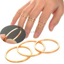 5PCS/Set Urban Gold stack Plain Above Knuckle Ring Band Midi Mid Finger Ring[JR14110*5]