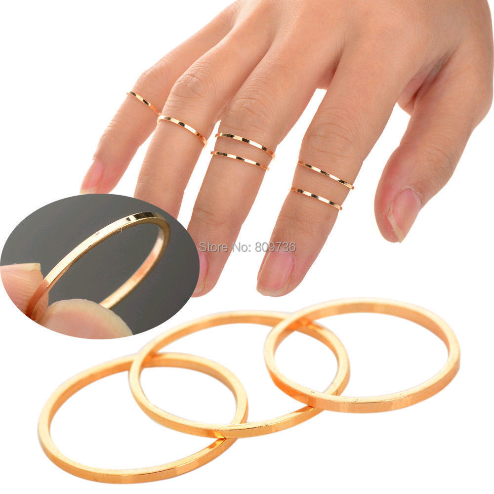 5PCS/Set Punk Urban Above Knuckle Ring Gold stack Plain Band Midi Mid Finger Ring Women Jewelry Wholesale (China (Mainland))