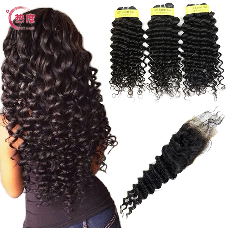 Brazilian Deep Wave With Closure 3 Bundles Human Hair with Closure Brazilian Virgin Hair Loose Deep with Closure Free Shipping