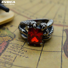 EVBEA Adjustable Size Rings Ruby Dragon Claw Biker Finger Ring Punk Rock Style Newest Jewelry For Men