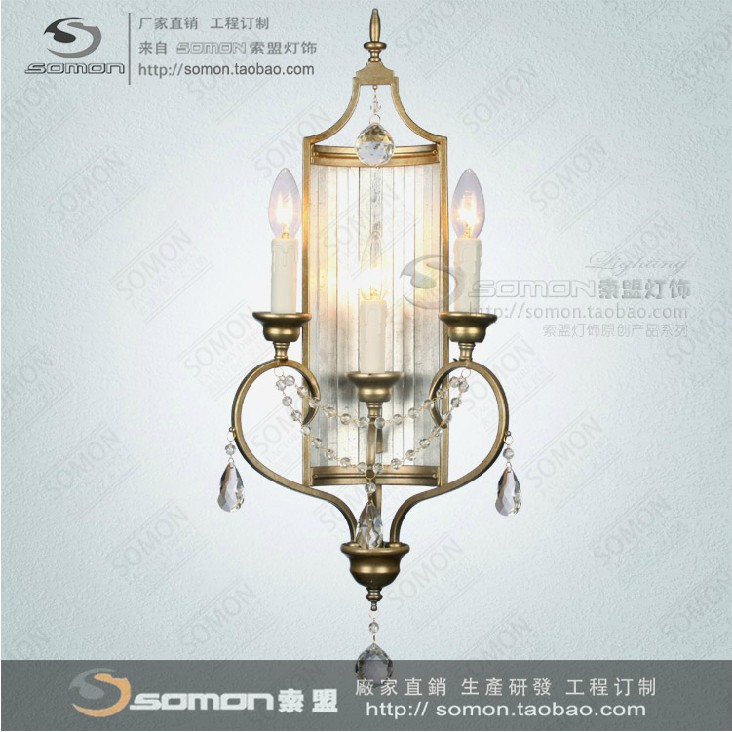 French American French wrought iron crystal candle wall sconce Nordic Villa 3 bedroom living ...