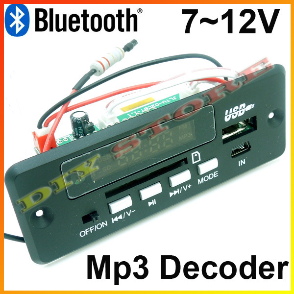 Wholesale Brand New 7~12V Car Handsfree Bluetooth MP3 decode board with Bluetooth module+FM+free shipping-10000656(China (Mainland))