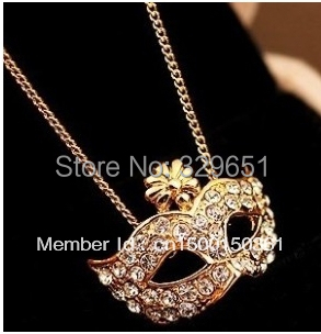 Fine fox mask embedded Imitation diamond rhinestones short paragraph clavicle necklace AJ0353WD(China (Mainland))
