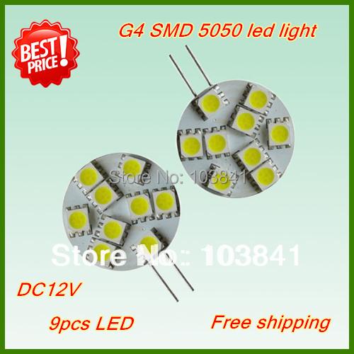 Free shipping new hot sell 1.8W G4 LED bulbs G4 9 led 5050 smd G4 LED 12V car light 120-150Lumen LED Marine Camper Car Bulb Lamp(China (Mainland))