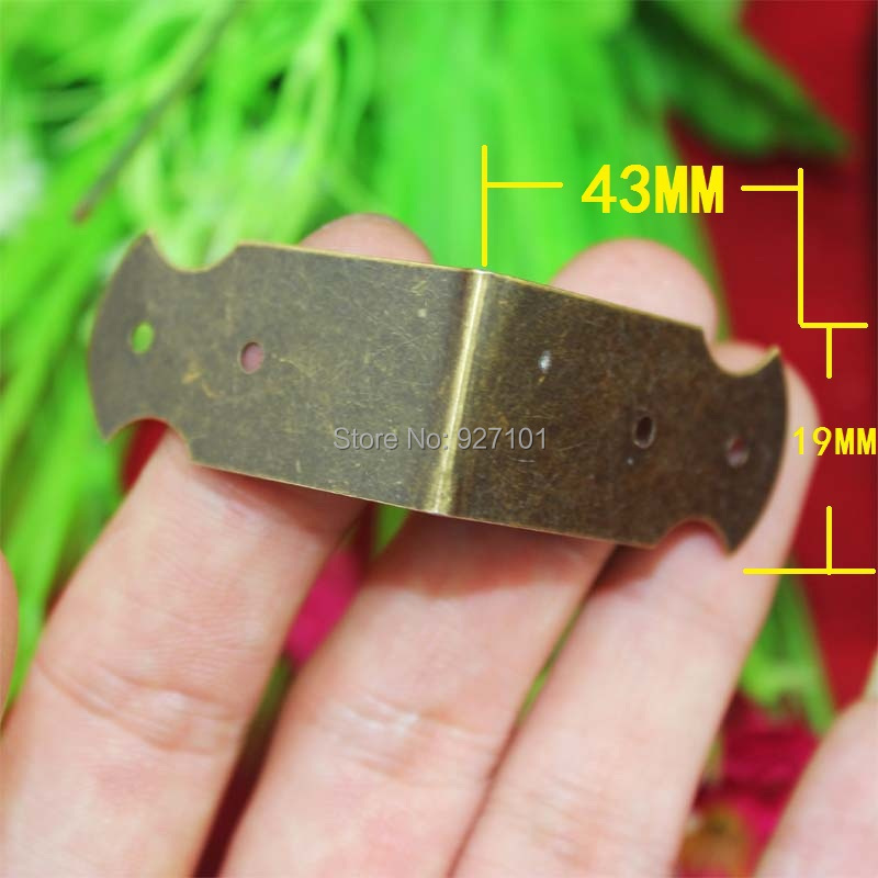 43*19MM ancient box edge protector metal furniture fittings vintage jewelry box decorative brass corners Wooden case Angle(China (Mainland))