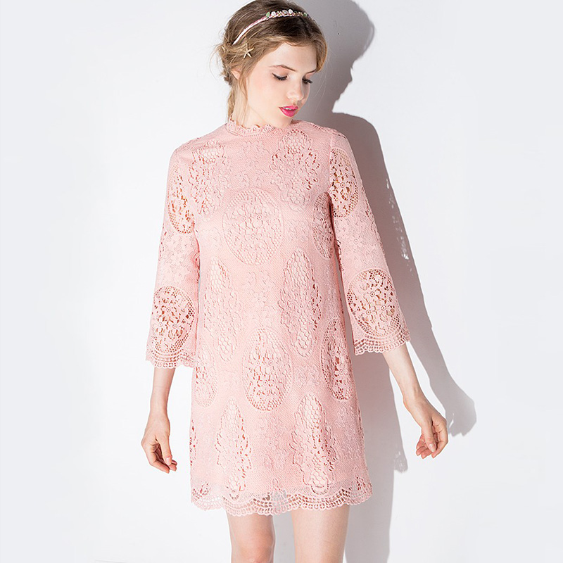 2016 Spring Sweet Flowers Hollow-out Bud Silk Dress Lace Three Quarter Sleeve Wave Shape Neck Mini Short Pink Loose Sundress(China (Mainland))