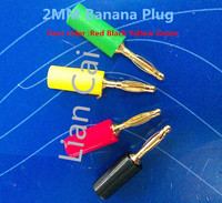 Free Shipping 50pcs/lot 2mm Banana Plug High Quality Cooper with Gold Plated Banana Head Black/Red/Yellow/Green Color