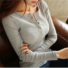 Long sleeved T Shirt women bottoming Tops sexy V neck Tees,casual solid color Tops new arrival slim sexy Tees t shirt TT852