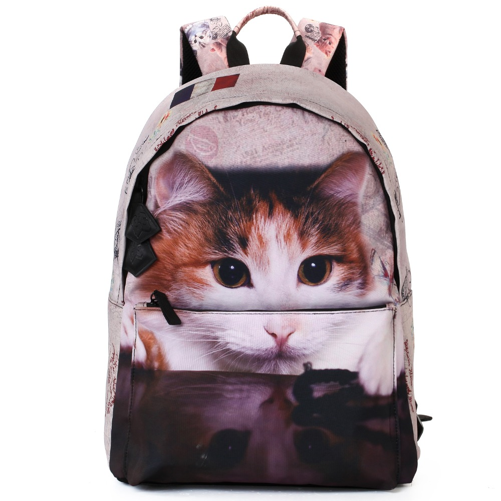 2016 Bistar Brand New Arrival 3D Lovely House Cat Pattern Print Backpack Women Can Be applied To Travel Mochila Feminina BBP901(China (Mainland))