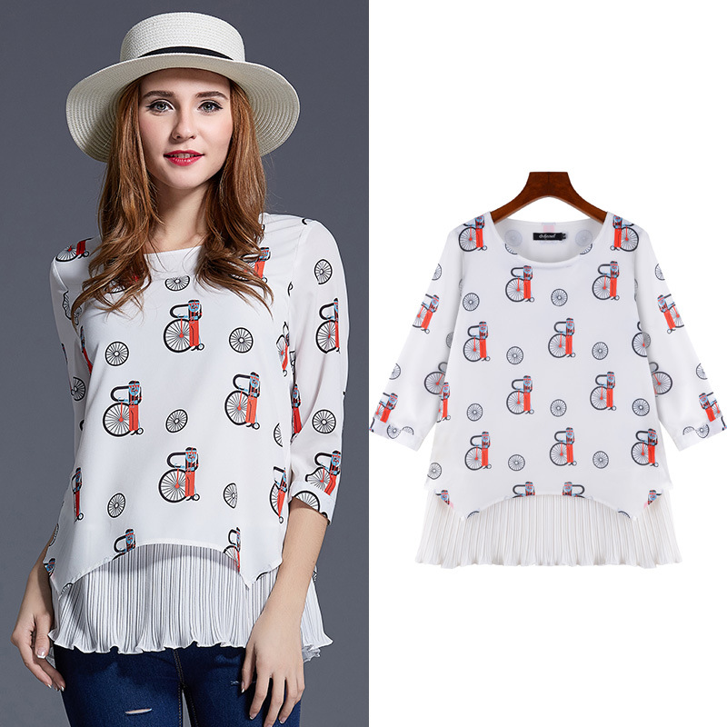 Plus Size Shirt Women Clothing 5XL Spring 2016 Tops Chiffon Women's Shirts New Casual Style Big Size Tops SN8135(China (Mainland))