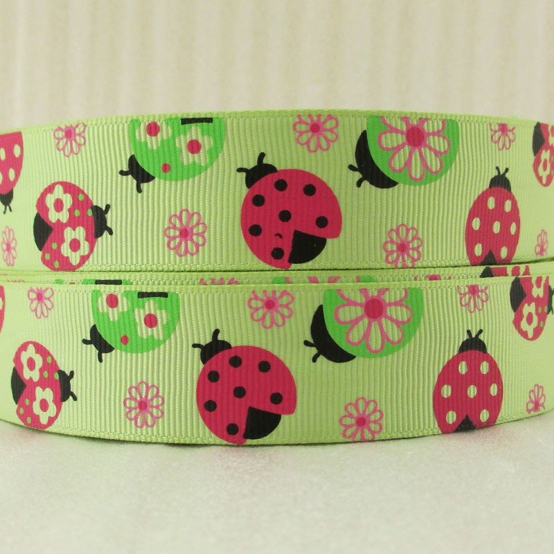 5Y14907 7/8''(22mm) green Ladybug high quality printed polyester ribbon 5 yards, DIY handmade materials, wedding gift wrap(China (Mainland))