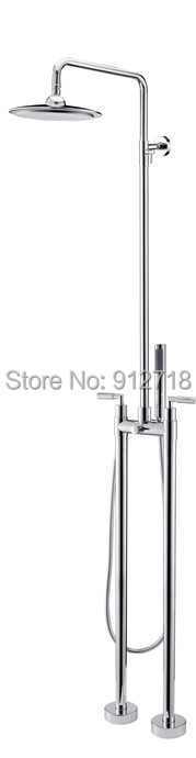 Free Standing Faucet Floor Mounted Bathtub Mixer Tap Long Handle shower rain showerhead Polished Chrome Brass 9115 - Viskia Sanitary Ware Co.,Ltd. store