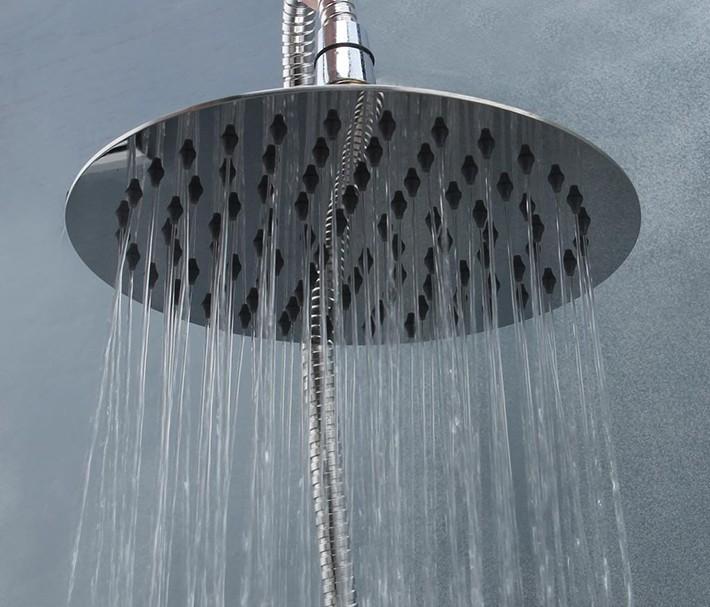 Купить 16 дюймов 40 * 40 см круглой формы 304 нержавеющей стали ультратонкий экономии воды осадков душем 8051