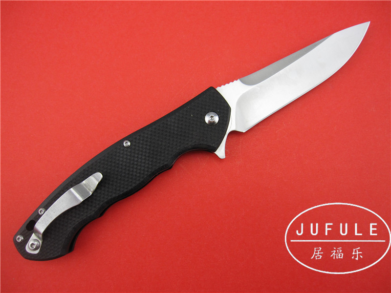 Buy JUFULE ZT0454 tactics flipper blade folding knife 9cr18mov ball bearing system steel + G10 handle camping knife EDC tool cheap