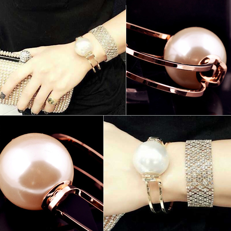 20pcs/lot Attractive Hollow Dual Circles Bangle Gold Alloy Pearl Bracelet Ladies Make Up Accessories jb220(China (Mainland))