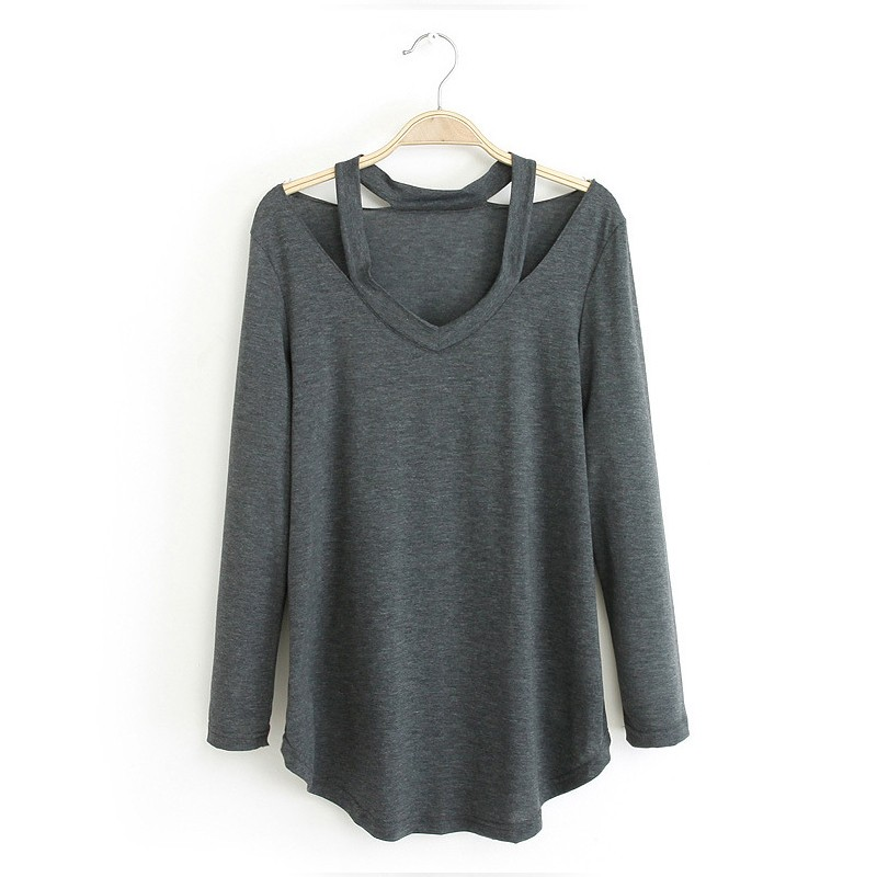 Halter Neck Cut Out Spaghetti Strap Blouse Loose Long