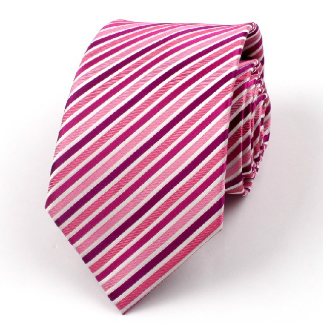 2016 New Arrival Guaranteed 100% Silk Ties For Men Fashion Brand Pink White Stripe Ties Designers Marriage Tie 8.5cm Wholesale(China (Mainland))
