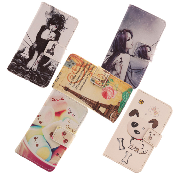 AIYINGE Painting Wallet Pouch PU Flip Leather Accessories Protection Cell Phone Holster Cartoon design Case For Qumo Quest 530(China (Mainland))