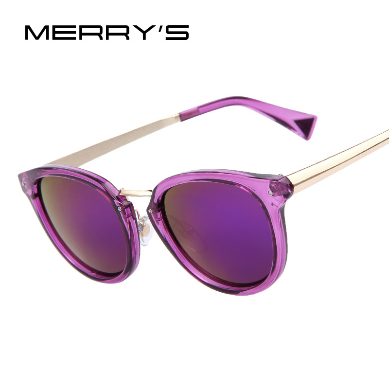MERRY'S Brand Designer Fashion Women Purple Mirroed Sunglasses Women Dazzle Colour Frame Mirror Lens Cat Eye Sunglasses(China (Mainland))