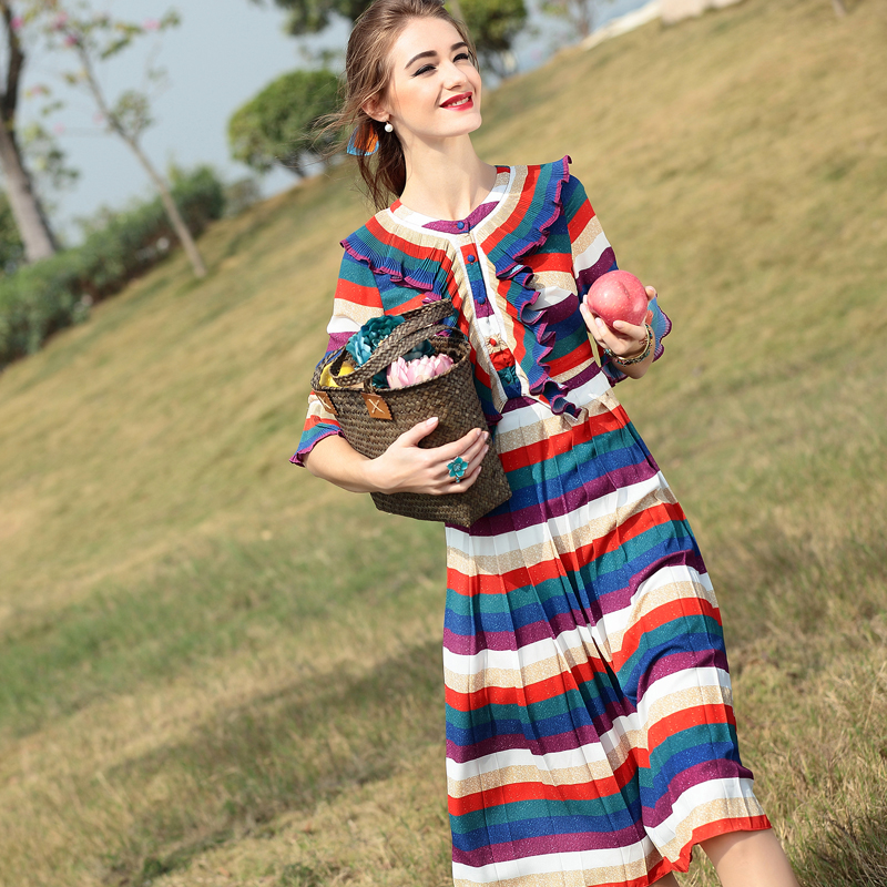 2016 New Style Spring Summer Dress Top Fashion Runway Brand Woman Dress Elegant Flare Sleeve Pleated Casual Long Striped DressesОдежда и ак�е��уары<br><br><br>Aliexpress