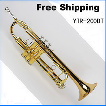 Free Shipping New musical instruments professional trumpet YTR 200DT trumpet bb Small brass instruments surface Gold Bb trumpet(China (Mainland))