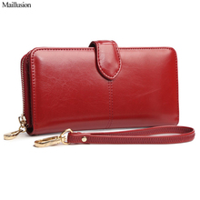 Buy Maillusion Women Wallet High Capacity Fashion Long Style Designer Hasp Oil Wax Leather Female Clutch Coin Purse Ladies Wristlet for $8.64 in AliExpress store