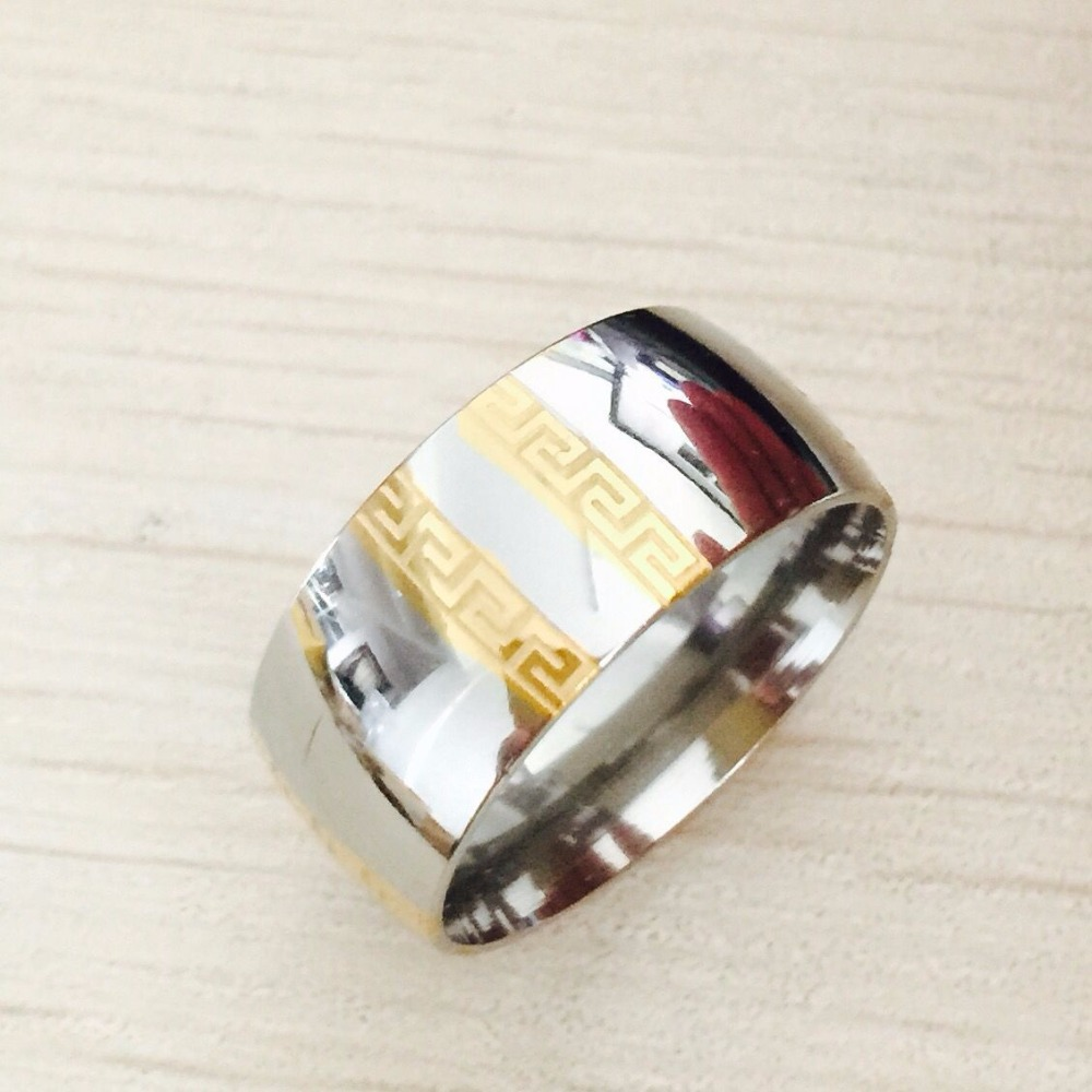 Large Luxury Exaggerated 8mm Greek Key gold silver rings men women 316L Titanium stainless steel men wedding wide Rings(China (Mainland))