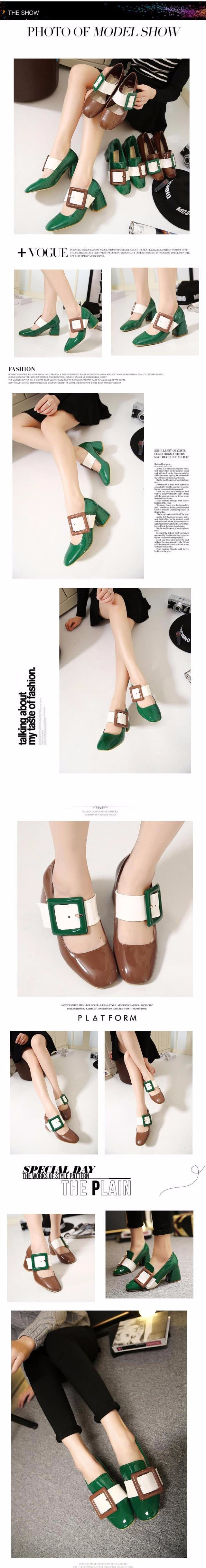 2016 New Spring Summer Retro Med Square Heel Women Shoes Pumps Patent Leather Large Square Buckle Platform Single Shoes ZM3.5