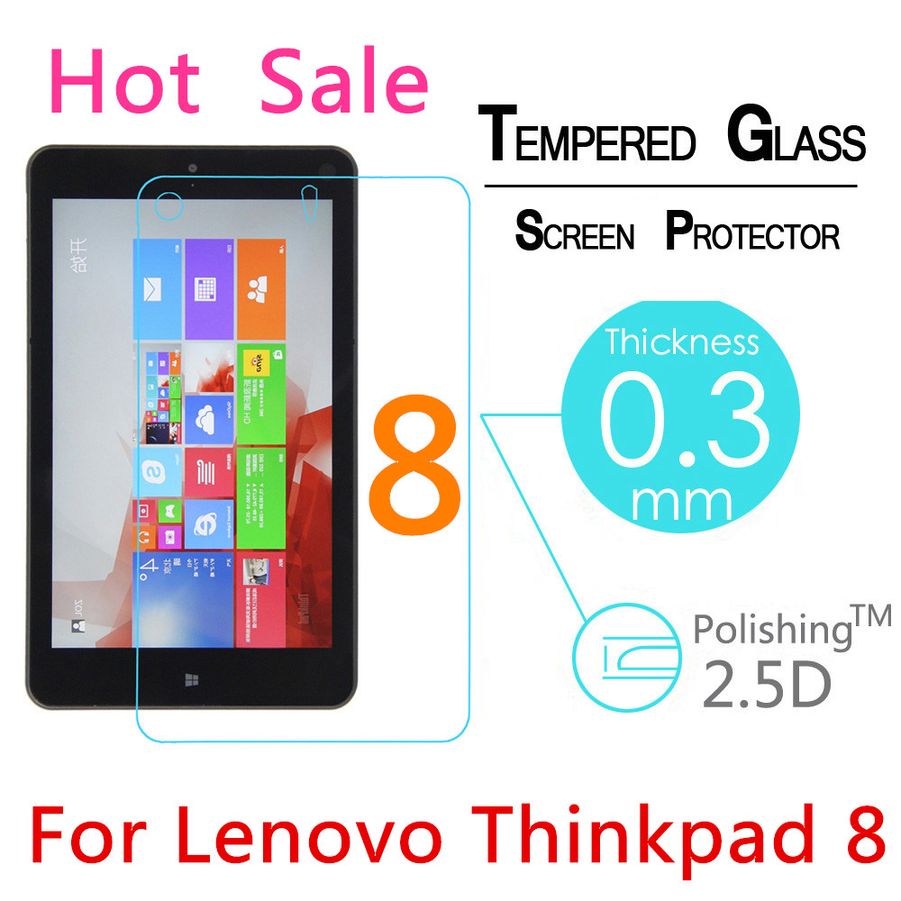 "9H 2.5D 0.3mm Explosion-Proof Toughened Tempered Glass For Lenovo Thinkpad 8 8.3"" LCD Tablet PC Film Clear Screen Protect Cover(China (Mainland))"