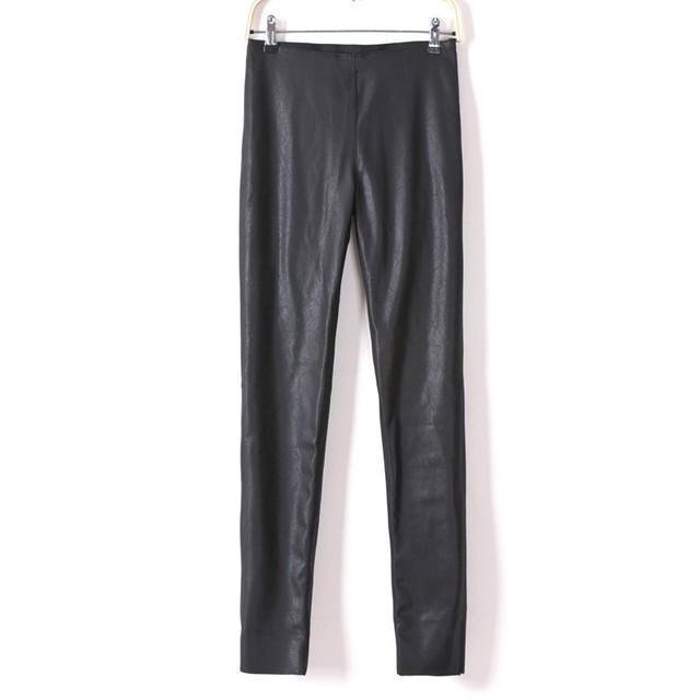 2015 осень зима новый дамы ПУ искусственной кожи колготки узкие брюки брюки черные ...