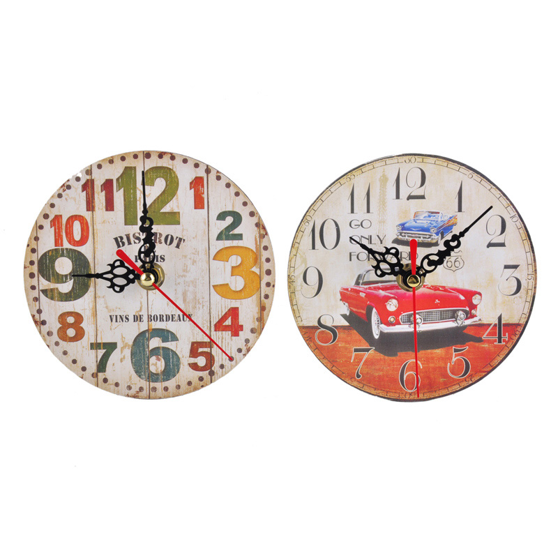 Hot Sell 7 Color Antique Style Wooden Wall Desk Clock Home Decoration Needle Digital AA Battery Vintage Retro Reloj de pared(China (Mainland))
