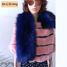 Jin Li Di Ang 2017 Women Brand Solid Blue Natural Real Fox Fur Scarf Tartan Large Square Genuine Leather Burb Shawls and Scarve(China (Mainland))