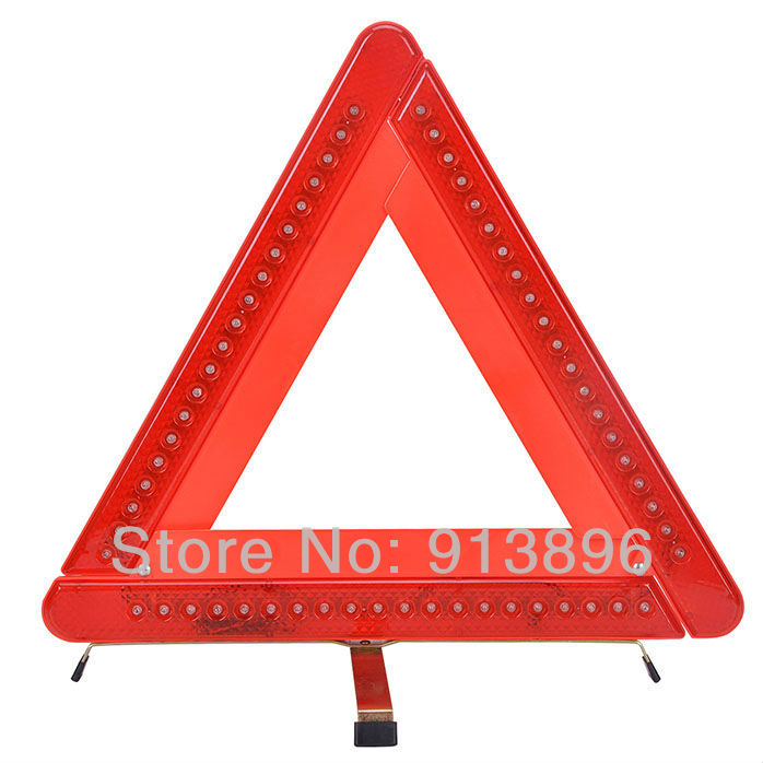 car emergency 60 LED Flashing Red Light warning triangle strobe signal easy folding store 1pc/lot - OneParts