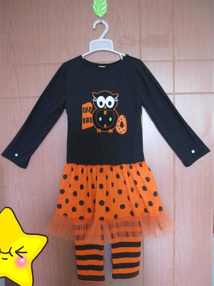 Cheap Price Baby Girls Halloween Cloth Sets Cute Owl Lace Dress Top Cotton Stripes Pants Fall Boutique Remake Outfits BT020(China (Mainland))