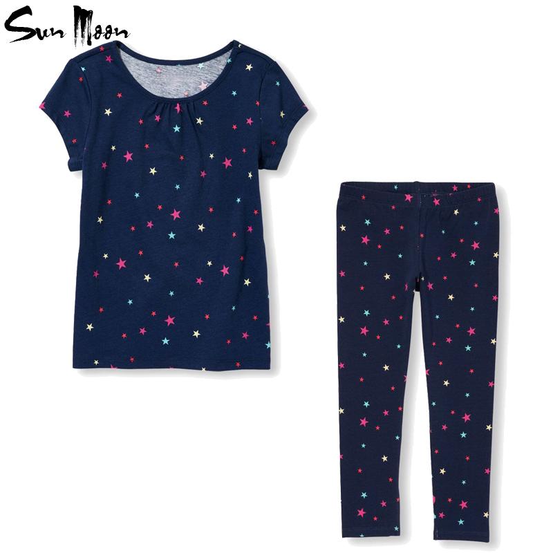 Children girl clothes set short sleeve t shirt girls pants 2016 new kids outfits cotton sport suit stars newborn clothing sets(China (Mainland))