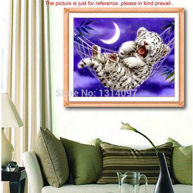 Ручной счетный крест комплект тигренка-глава дизайн 45 * 35 см украшения дома