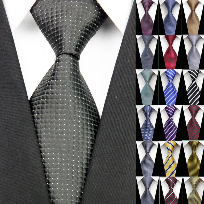 NT0098 Black White Dot Striped Multicolor Smooth Jacquard Woven Classic Silk Polyester Man's Business Luxury Tie Casual Necktie(China (Mainland))
