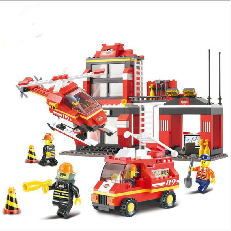 Sluban Building Blocks Compatible with Lego City Fire Station Truck Helicopter Firefighter Minifigure learning & Education toys