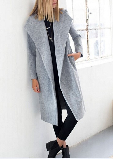 Grey Wool Women'S Coat | Down Coat