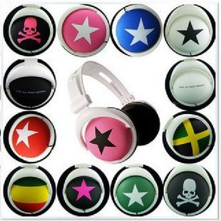 Hot Sale Mix Style Star & Skull Stereo Headphone Computer MP3 MP4 Earphone 12pcs