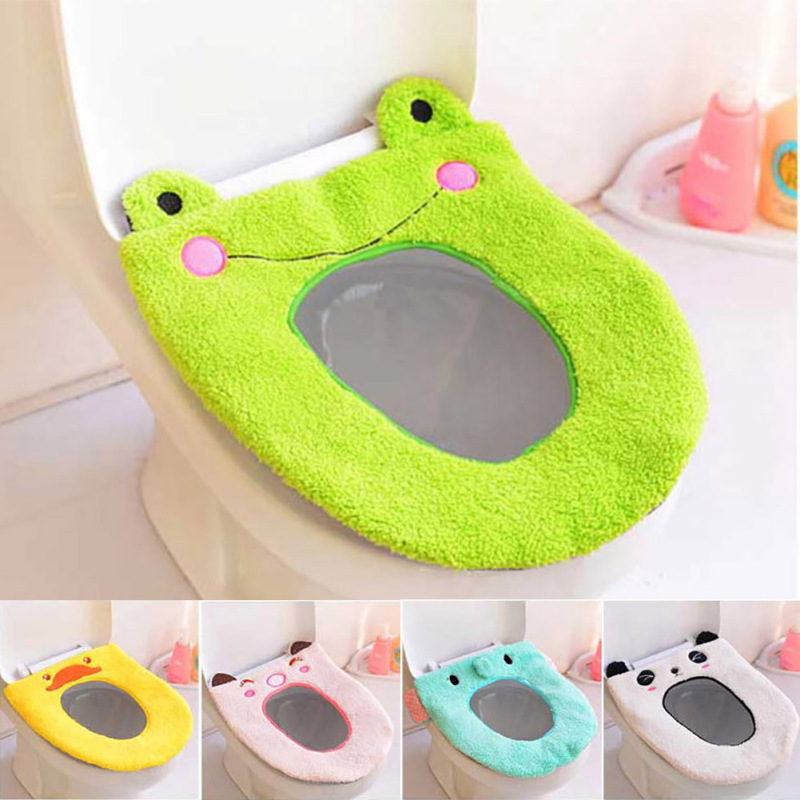 1 Pcs O-Type Toilet Seat Cover Cartoon Bathroom Warmer Cloth Washable Pads Soft Comfortable Toilet Mat s9(China (Mainland))