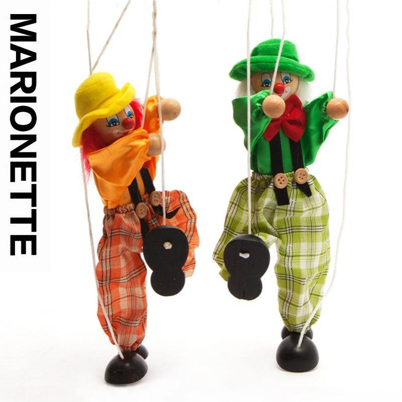 Гаджет  2pcs/lot baby wooden clown marionette toys/ kids children Christmas gifts/ story tell shadow puppet plush doll , Free shipping None Игрушки и Хобби