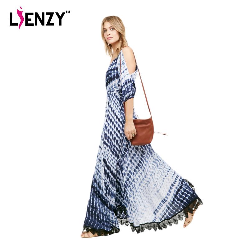 LIENZY 2016 Summer Elegant Women Long Dress Deep V Neck Half Split Sleeve Ocean Style Printed Lace Hem Blue Beach Maxi Dress(China (Mainland))