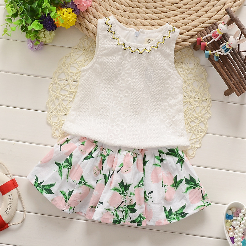 2016 Baby Summer girls Clothing Set Lace Flower White Vest Tank top +floral Skirts 2 Infant PCs Clothes Suits Toddler Garment(China (Mainland))
