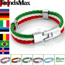 2014 World Cup National Flags Sports 3 Strands Rope Braided Surfer Leather Bracelets Mens Bracelets (8inch Long) LBW18(Hong Kong)