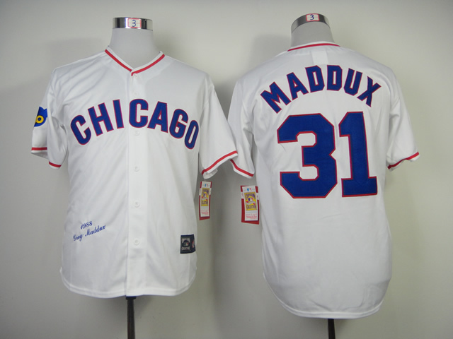 MLB Chicago Cubs Mens Jerseys #31 Greg Maddux White Throwback Baseball Jersey871<br><br>Aliexpress