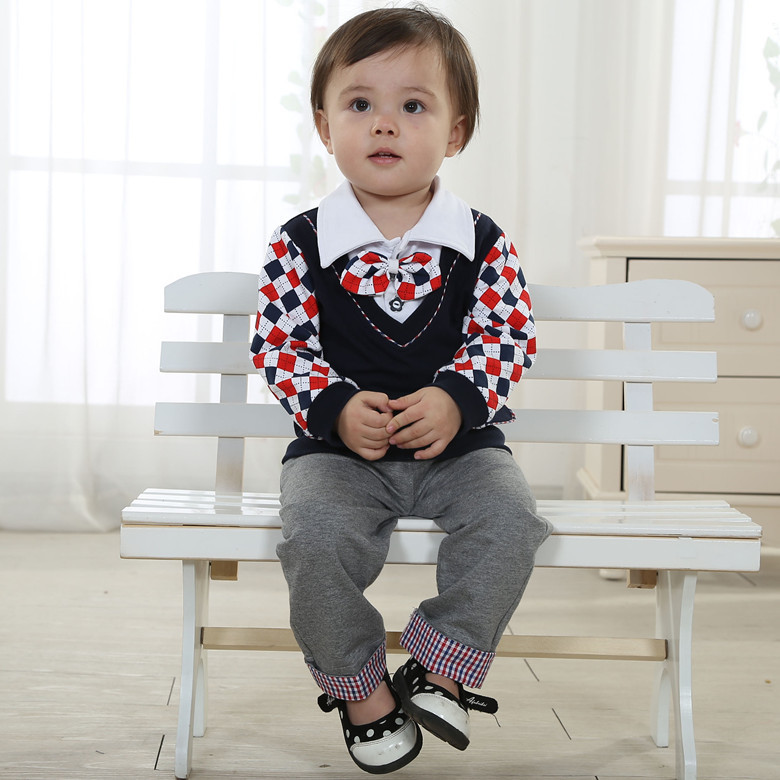 Hot New 2014 Spring/Autumn Preppy style children clothing set Lovely baby boy clothing sets Vest+shirt+pants+bow tie 3pcs/lot(China (Mainland))