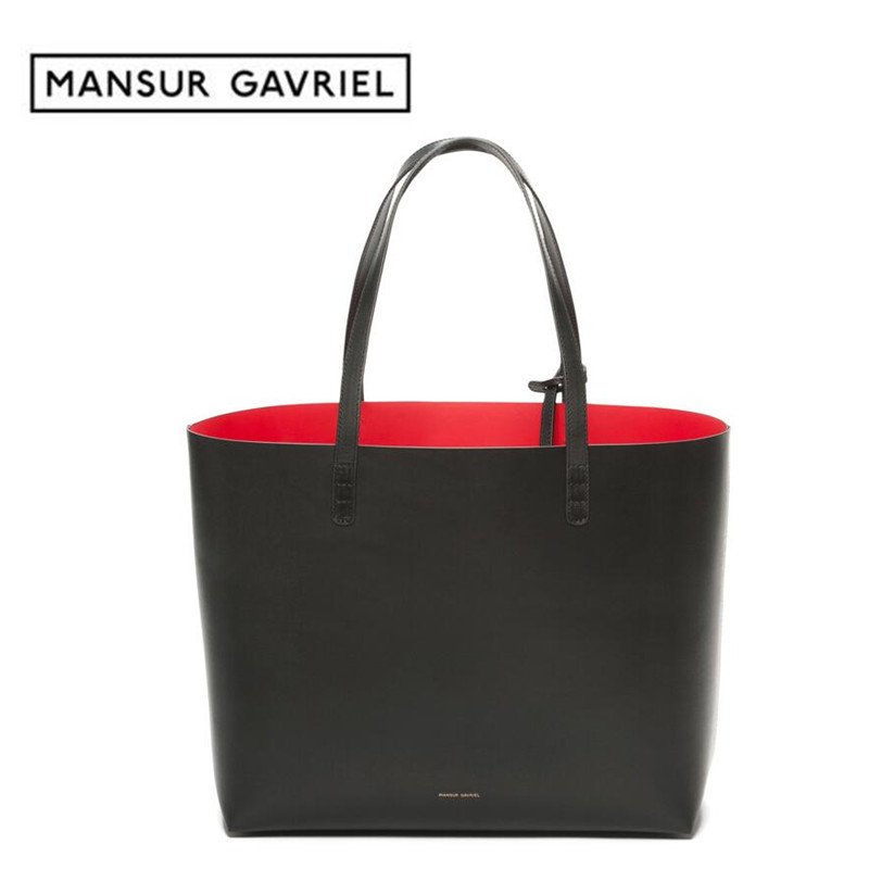 Mansur Gavriel tote women shopper large bag leder black shoulder hand bag with small mini purse designer brand handbag leather(China (Mainland))